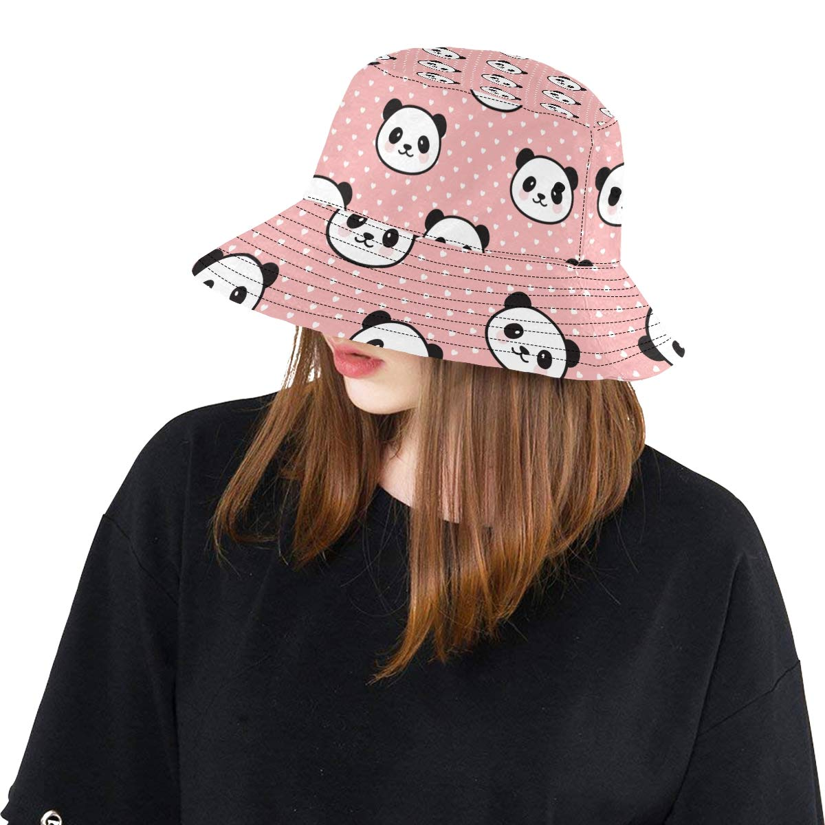Panda Head from China New Summer Unisex Cotton Fashion Fishing Sun Bucket Hats for Kid Teens Women and Men with Customize Top Packable Fisherman Cap for Outdoor Travel