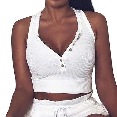 myfilma Trägershirts für Frauen, sexy Feste gerippte ärmellose Buttonts beiläufige Kurze Ernte-Trägershirt