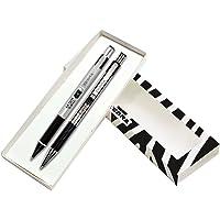 Zebra Juego de Pluma y Lapicero M/F 301, Punto Fino 0,7 mm, Portaminas 0,5 mm, Bolígrafo Tinta Aceite Color Negro, Estuche con Un Juego.