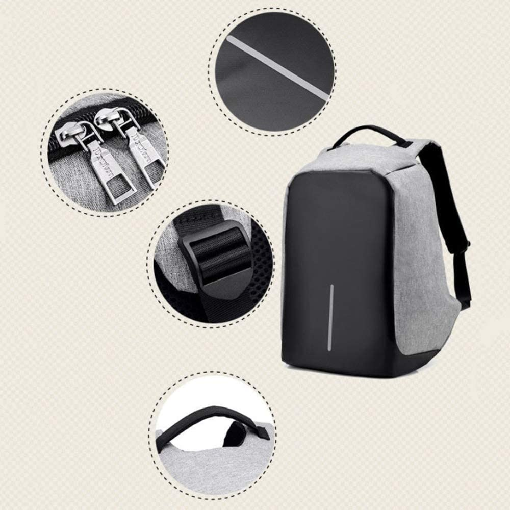 HZZ Anti-Theft Computer Bag Mens Business Backpack USB Charging Outdoor Travel Bag College Student Bag
