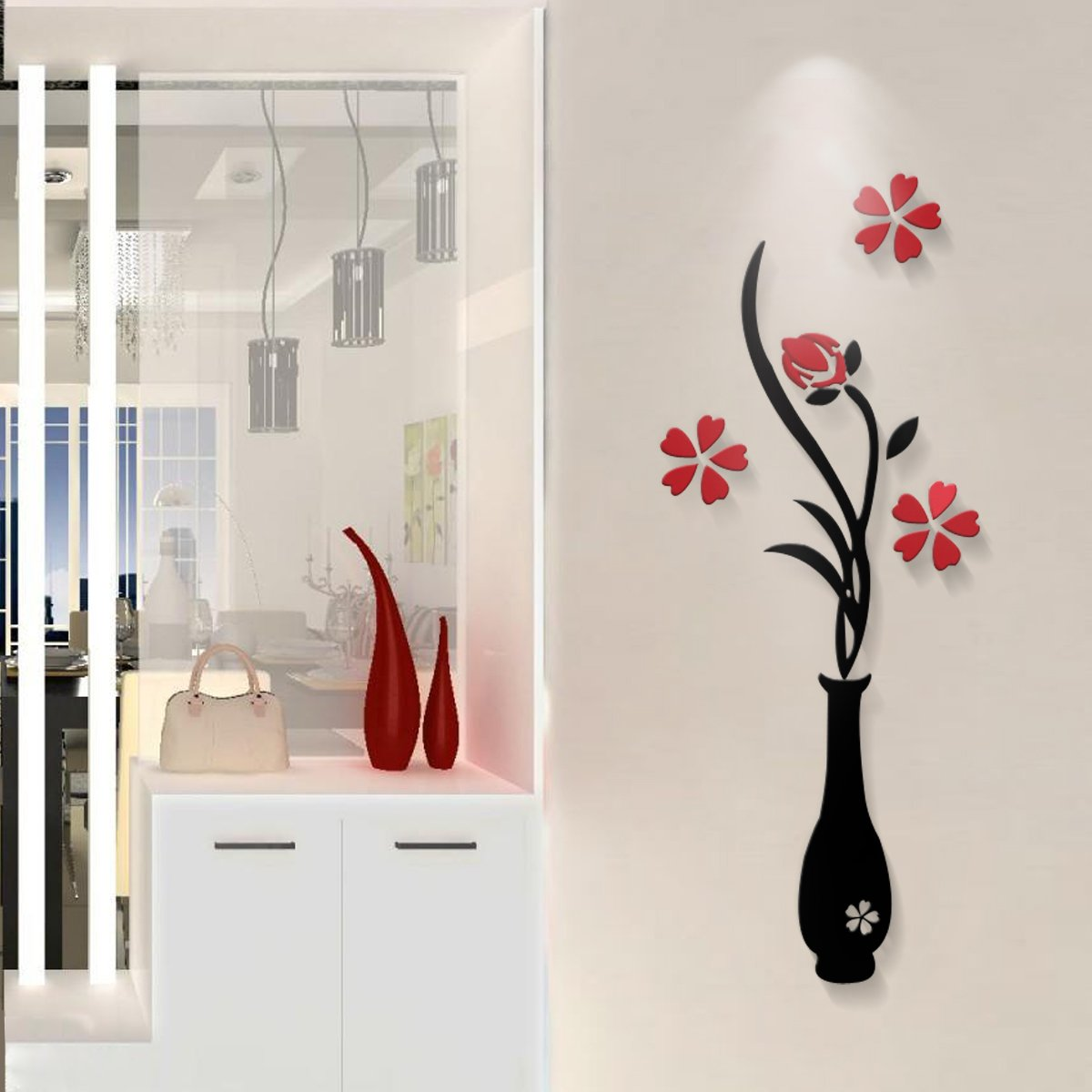 amazon com mkono 3d stereo wall decals acrylic crystal wall amazon com mkono 3d stereo wall decals acrylic crystal wall sticker art mural decoration for home living room bedroom vase red plum blossom s home