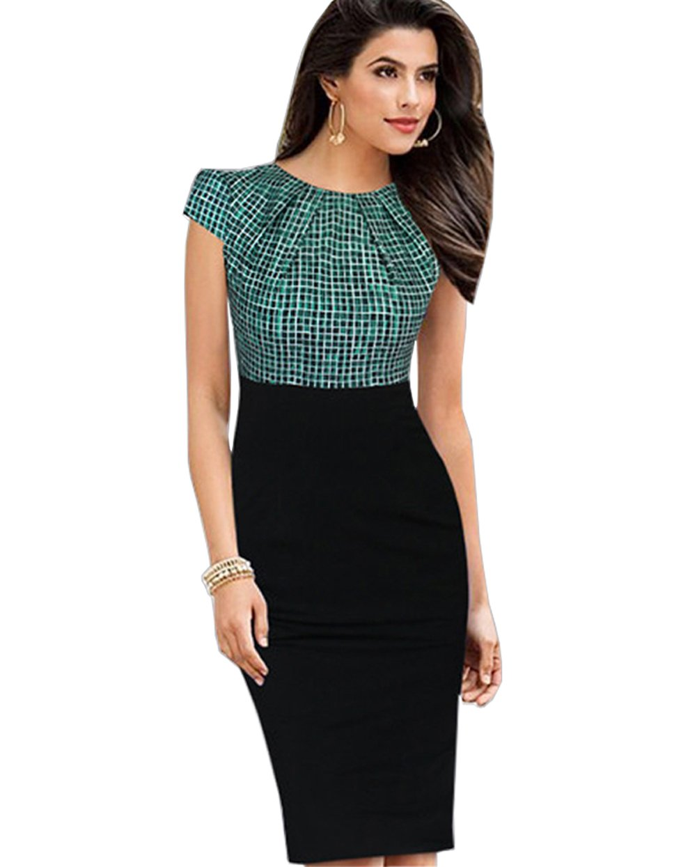 Merope J Womens Printed Ruffles Neck OL Pencil Contrasted Dress(M,Grenn Plaid + Black)