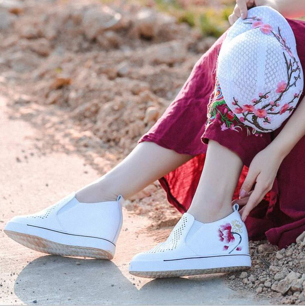 Hy Dicke Damen Freizeitschuhe Dicke Hy untere Slipper mit Keilabsatz Damen National Wind Besteickte Schuhe Weihnachtsschuhe Müßiggänger und Slip-Ons Faule Schuhe (Farbe   Weiß Größe   36) 611aac