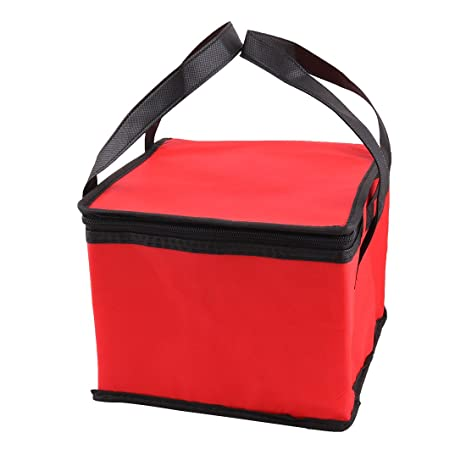uxcell Non-Woven Fabric Household Zipper Closure Water Food Warmer Cooler Bag 25cm x 25cm x 20cm Red