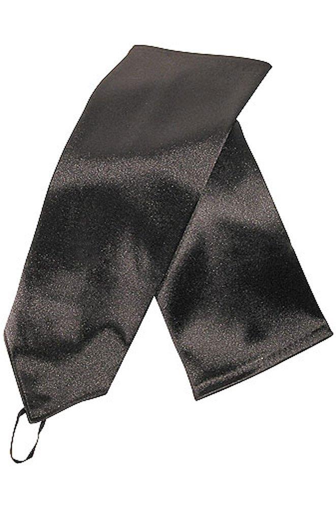 15'' Big Girls Black Fingerless Stretch Satin Bridal Gloves