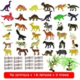Animal Figures for Kids Toddlers Boys - 54 Pcs Mini Realistic Animals Including T-rex, Pterosaur, Triceratops, Panda, Rabbit, Squirrel, Wolf, Sheep, Gorilla...Party Favors for Kids Cake Cupcake Topper