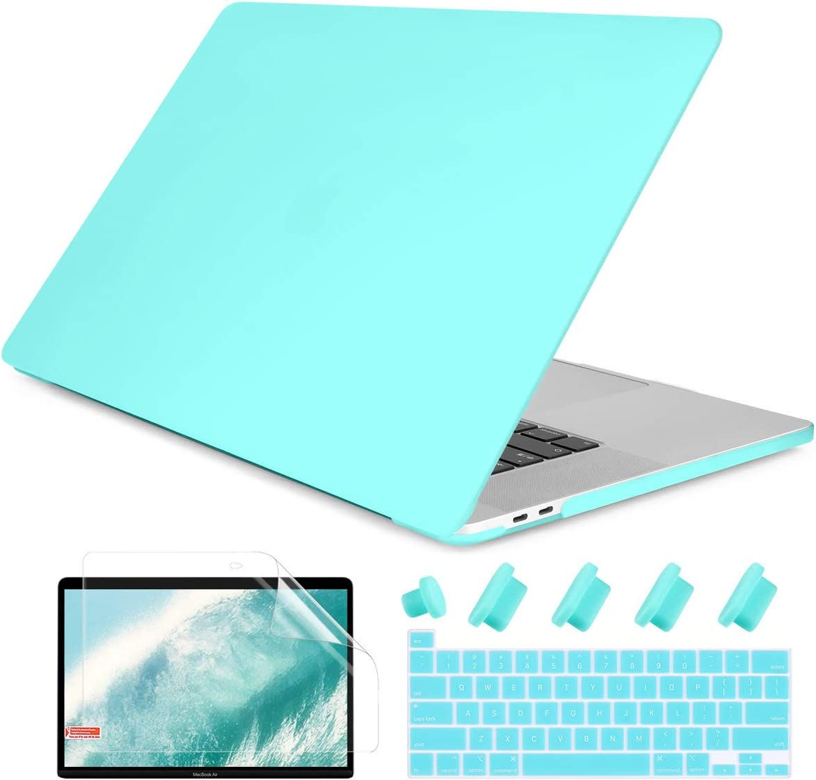 Dongke MacBook Pro 13 inch Case 2019 2018 2017 2016 Release A2159 A1989 A1706 A1708, Frosted Matte Plastic Hard Shell Cover for MacBook Pro 13 with Touch Bar Retina Display Cyan