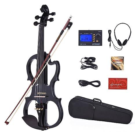 ammoon Violino Elettrico VE-201 Dimensione Piena 4 4 Legno Massiccio  Silenzioso Corpo di 4b0de290c228