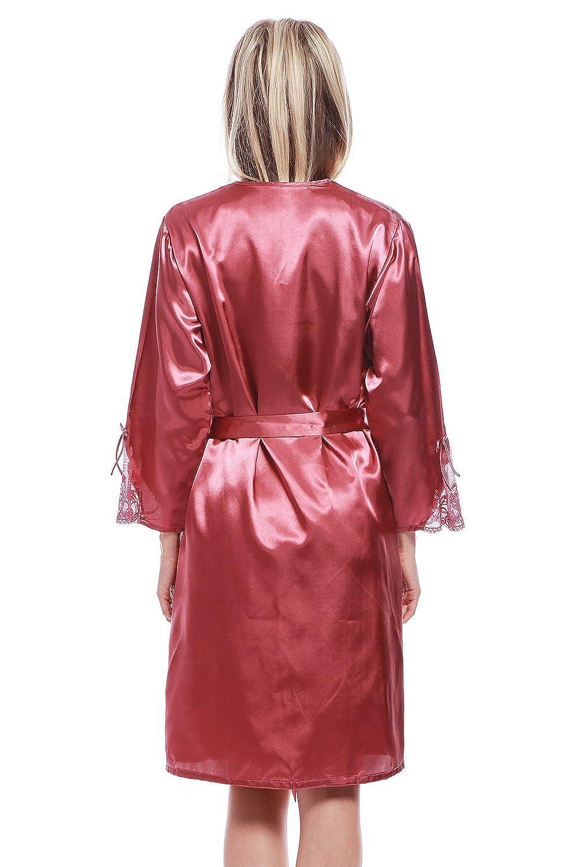 BellisMira Women s Satin Robe Silk Dressing Gown Lace Pyjamas Long  Nightdress Sexy Ladies Bathrobe Sleep Slip Kimono (Robe Only)   Amazon.co.uk  Clothing 064717d51