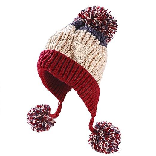 93685c0a57d HUAMULAN Women Winter Thick Peruvian Beanie Hat Skull Ski Ear Flaps Caps  Dual Layered Fleece Lined
