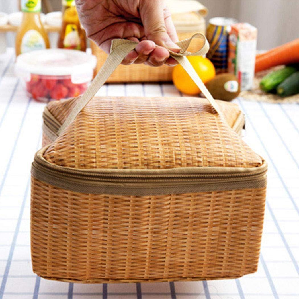 mekolen Insulated Thermal Cooler Lunch Bag Handbag Pouch Picnic Storage Box Satchels Shockproof Insulation lunch Bag Imitation Rattan,Khaki