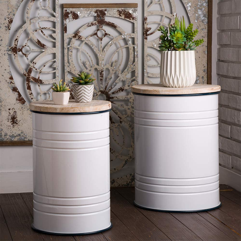 Glitzhome Farmhouse Metal Enamel Storage Stool Ottoman Seat with Round Wood Lid Set of 2