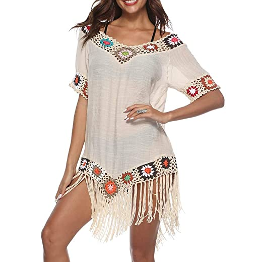 d85d752416 KAMA BRIDAL Women's Swimsuit Beach Cover Up with Tassels Bikini Bathing Suit  Crochet Lace Apricot