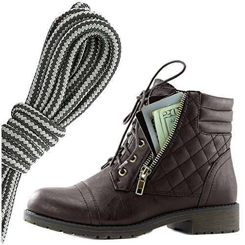 Dailyshoes Donna Militare Allacciatura Fibbia Stivali Da Combattimento Caviglia Alta Esclusiva Tasca Per Carte Di Credito, Nero Grigio Scuro Marrone Pu