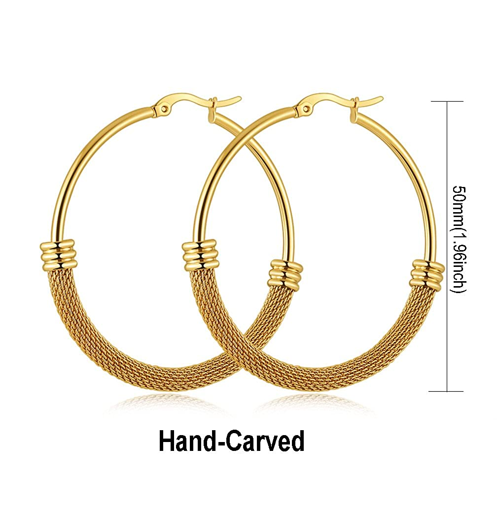 4745533446d12 14K Yellow Gold Plated Big Hoop Earrings for Women,Fashion Hypoallergenic  Earrings for Girls.