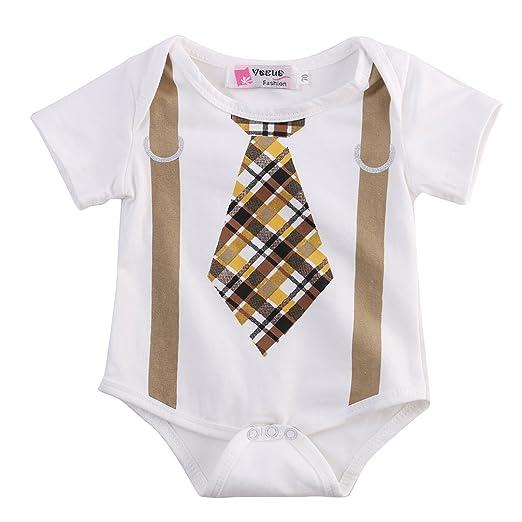 b6c8e37170ffa Newborn Infant Baby Boy Clothes Plaid Tie Suspenders Bodysuit Romper  Outfits (0-3 Months