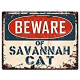 """Beware of SAVANNAH CAT Chic Sign Vintage Retro Rustic 9""""x 12"""" Metal Plate Store Home Room Wall Decor Gift"""