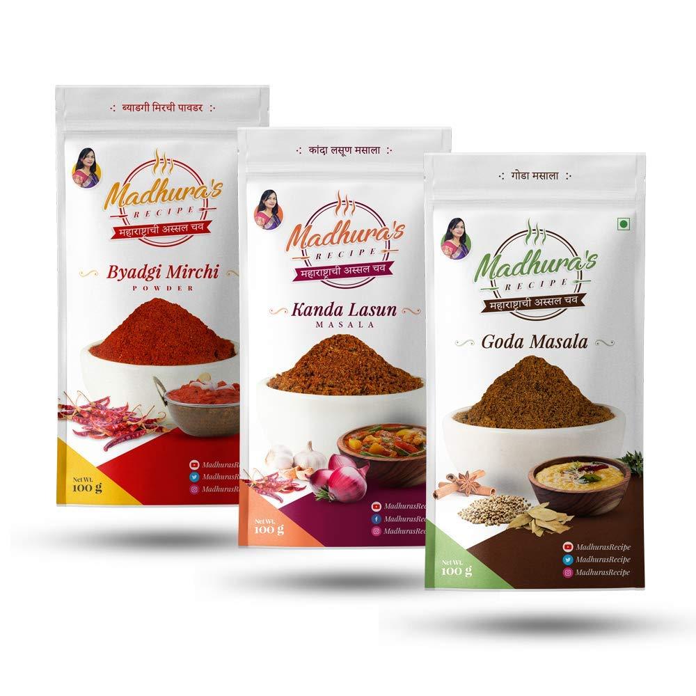 Madhura's recipe Masala (Pack of 3) Goda Masala - Byadgi Mirchi Powder - Kanda Lasun Masala (100 gm Each)