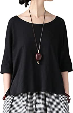 Aeneontrue Women's Casual Short Sleeve T-Shirts High Low Tees 100% Bamboo Cotton Tops Blouses Large