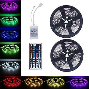 Christmas Hot Sale!!Natarura 10M 5050 SMD RGB 2X5M 600LEDs LED Light Strip 44 Key IR Remote Controller