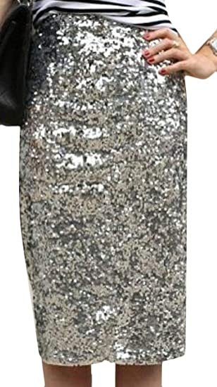 4a55298c12 Alion Womens Sexy High Rise Sequins Stretch Bling Pencil Skirts at ...