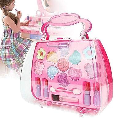 Kikole Girls Pretend Play Makeup Set Toy Kit for Children Kids Traveling Princess Cosmetic Box: Toys & Games