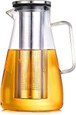 HOLD U FUN 1.8L Glass Water Carafe Pitcher with Stainless Steel Lid, Hot and Cold Water Jar/Carafe for Water,ice tea Juice container,fridge pitcher with handle,(1800ML)