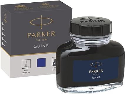 Parker tintero de tinta líquida Quink para plumas estilográficas, 57 ml, en caja, color azul: Amazon.es: Oficina y papelería