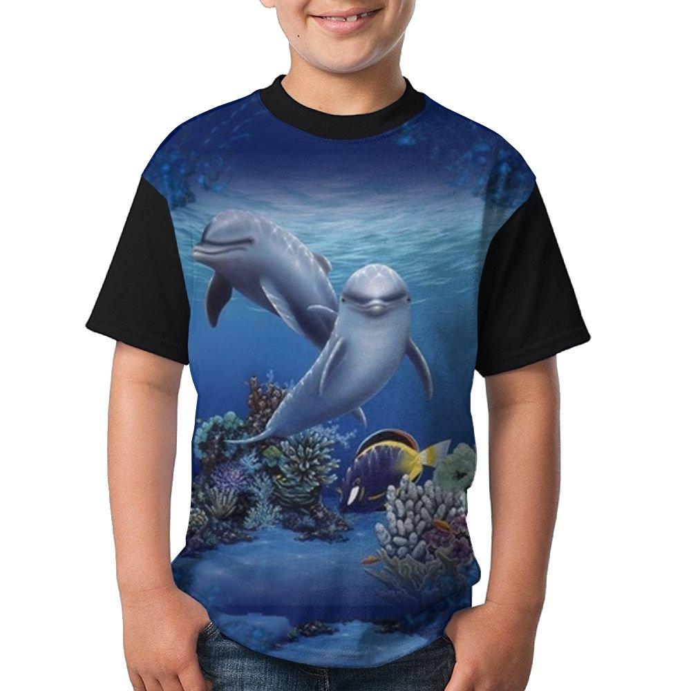 Dolphin Kids Boy 3D Printed Short Sleeve Funny Crew Neck T-Shirt Medium