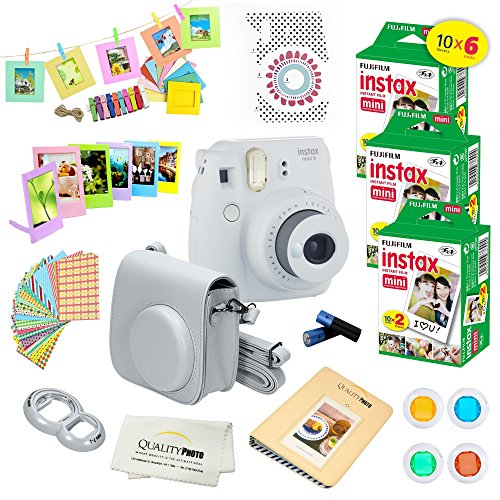 Fujifilm Instax Mini 9 Instant Camera SMOKEY WHITE w/ Fujifilm Instax Mini 9 Instant Films (60 Pack) + A14 Pc Deluxe Bundle For Fujifilm Instax Mini 9 Camera (Intant Camera Film)