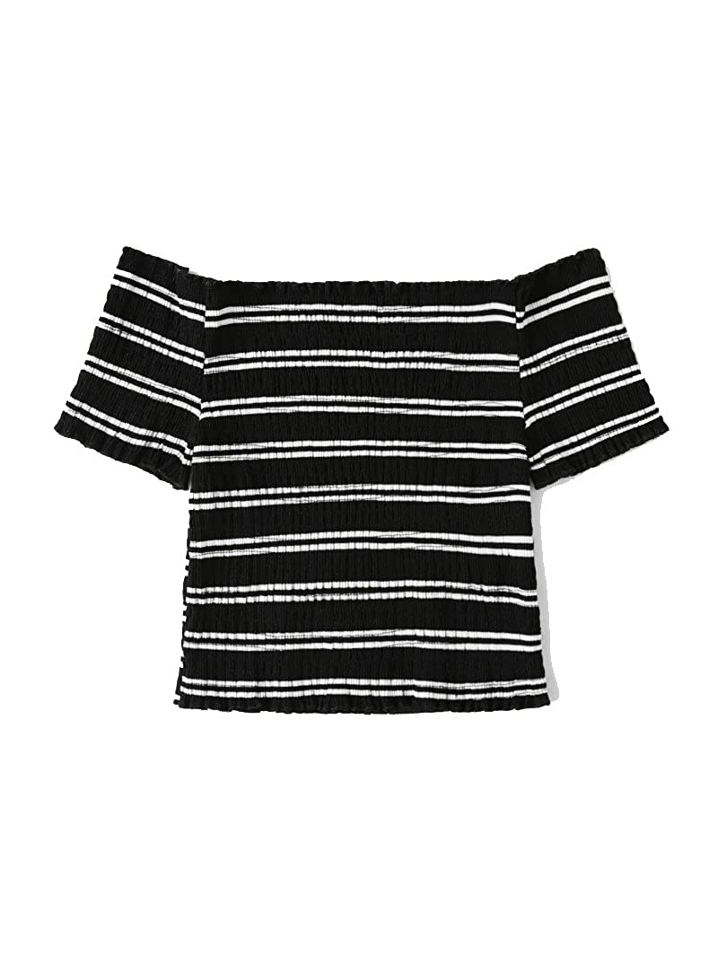 9e90180b472 Verochic Women's Short Sleeve Off Shoulder Lettuce Trim Striped T Shirts  Tops at Amazon Women's Clothing store: