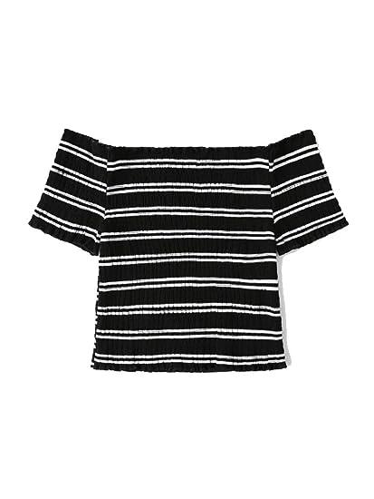 Verochic Women s Short Sleeve Off Shoulder Lettuce Trim Striped T Shirts  Tops at Amazon Women s Clothing store  dd659c966b