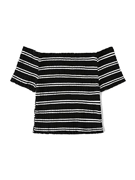 a4b6e9e2cce7b1 Verochic Women s Short Sleeve Off Shoulder Lettuce Trim Striped T Shirts  Tops at Amazon Women s Clothing store