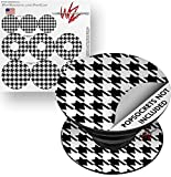 Decal Style Vinyl Skin Wrap 3 Pack for PopSockets Houndstooth Black and White (POPSOCKET NOT INCLUDED) by WraptorSkinz