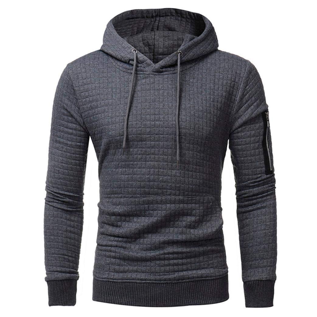 Long Sleeve Plaid Hoodie Hooded Solid Sweatshirt Drawstring Tops Mens' Jacket Coat Outwear Overcoat (Dark Gray, L)