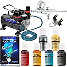 Master Airbrush Brand Cake Decorating System with a Master G22 Airbrush, Air Compressor, Air Hose, 6 Color Chefmaster Food Coloring Set, .7 fl ounce