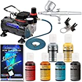 Master Airbrush Brand Cake Decorating System With Master G22 Airbrush, Air Compressor, 6' Air Hose, Chefmaster .7 oz Airbrush Food Coloring Set plus Metallic Gold and Metallic Silver & How to Airbrush Training Book Published Exclusively By Master Airbrush