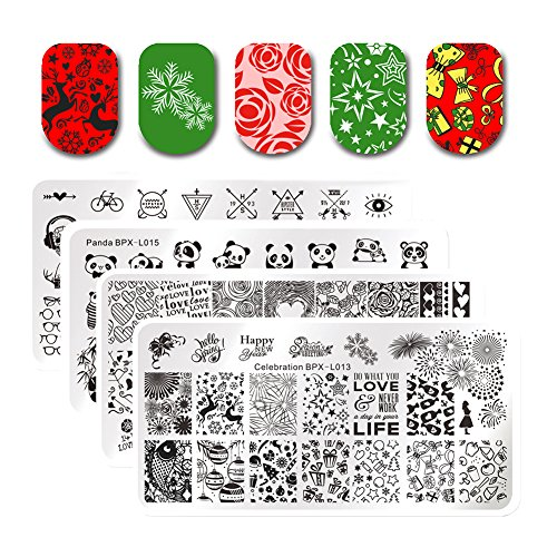 BORN PRETTY 4Pcs Rectangle Christmas Manicure Celebration Stamp Stamping Plate New Year Manicure Nail Art Image Template DIY Decoration with 2Pcs BORN PRETTY Scrapers