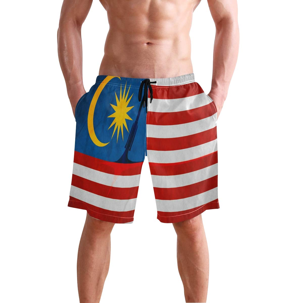 NaNa Home Malaysia Flag Rocket Launch Mens Swim Board Shorts Summer Beach Short Suits