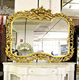 French Style Hand Carved Mantle Mirror with Gold Leaf Finish