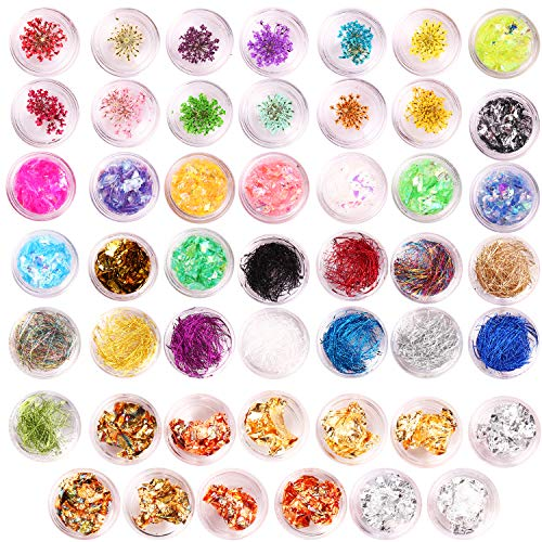 48 Boxes nail Design decal Stickers Kit with Nail Foil Glitter Flakes Dried Flowers Stickers Nail Strips Lines -