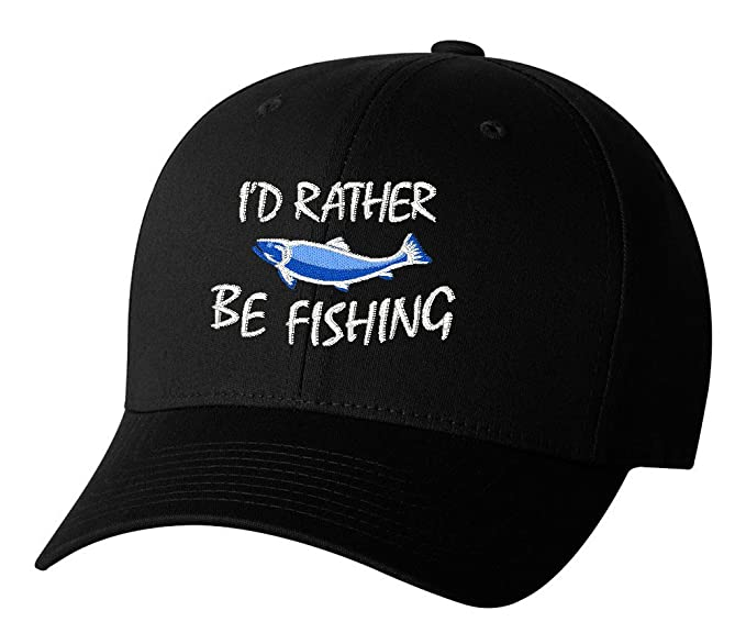 b31b993f052 I d Rather be Fishing Embroidered Hat 4 Colors - Black - OSFA Adjustable