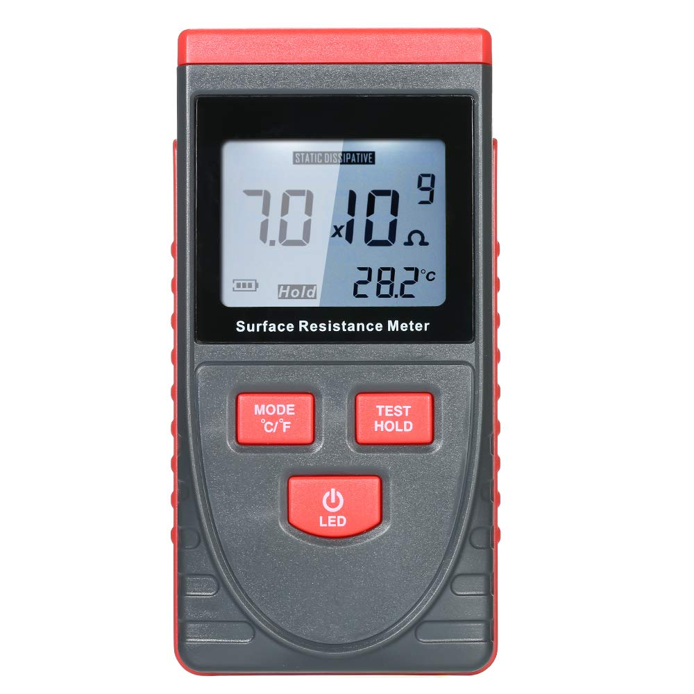Fesjoy Digital Insulation Resistance Tester Handheld Surface Resistance Meter with LCD Display Temperature Measurement and Data Holding Function