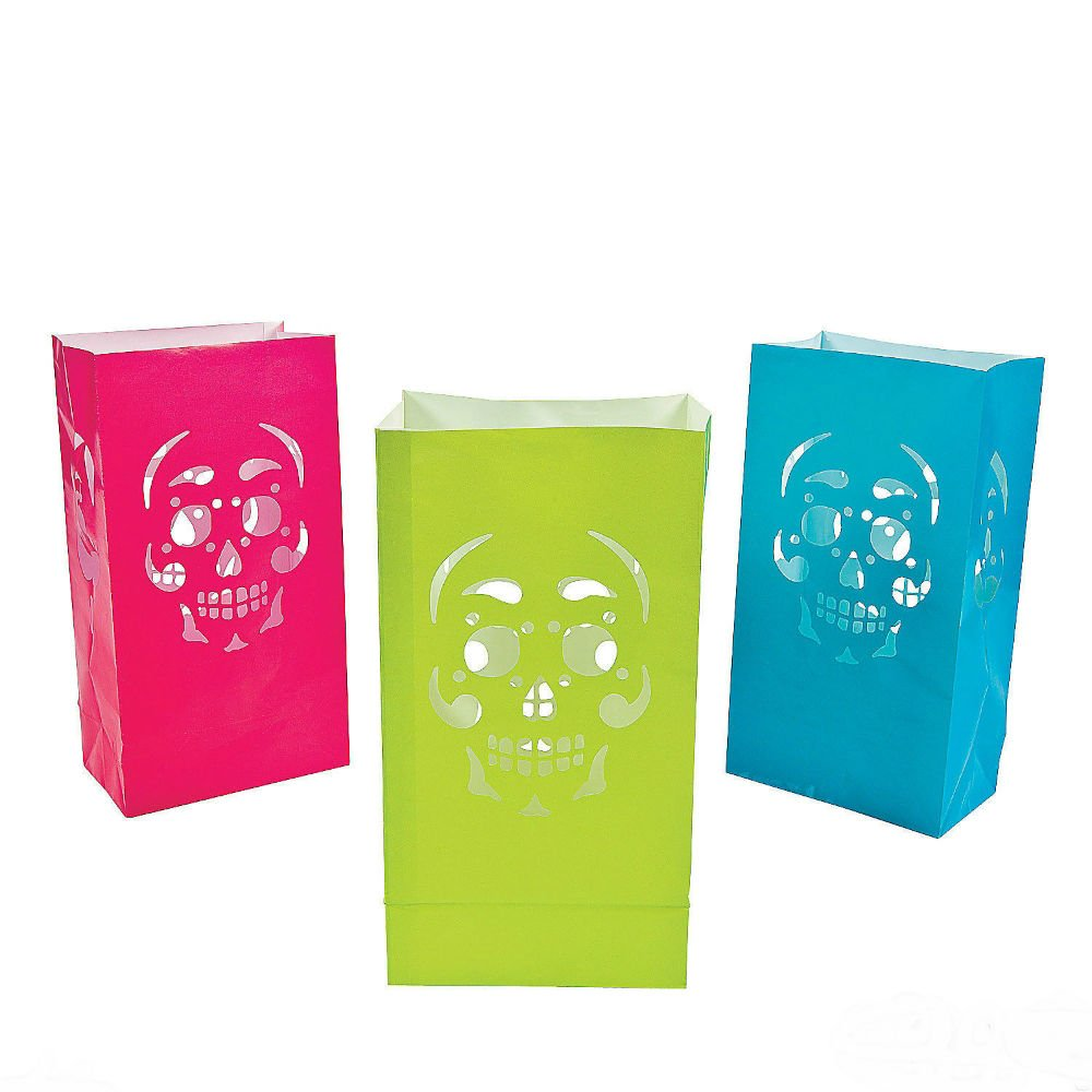 12 HALLOWEEN Day Of The Dead Party Decoration Prop Paper SKULL LUMINARY BAGS U.S Best Seller!