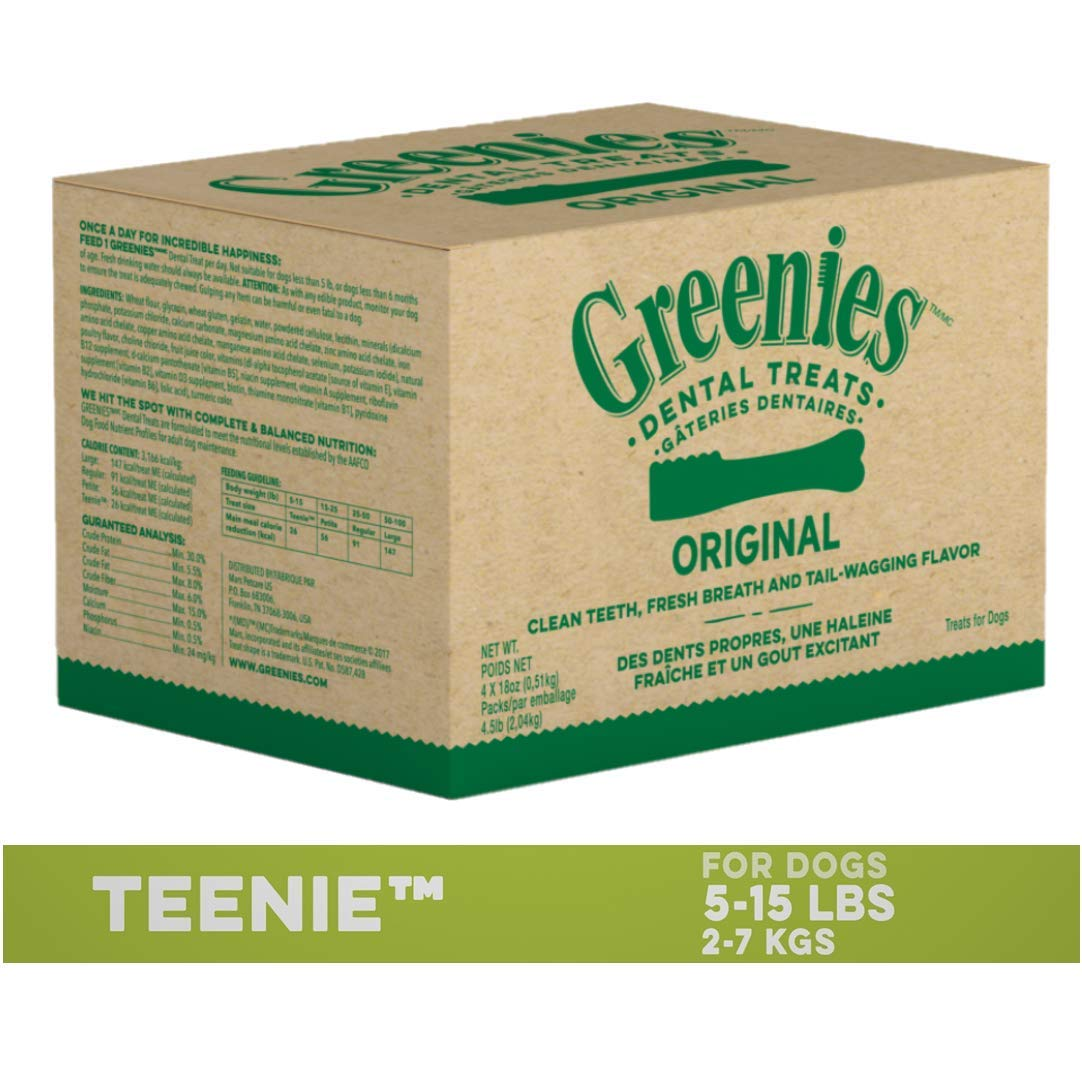GREENIES Original TEENIE Dental Natural Dog Treats, 72 oz. Pack (260 Treats) by Greenies