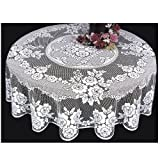 Heritage Lace Victorian Rose 72-Inch Tablecloth, White
