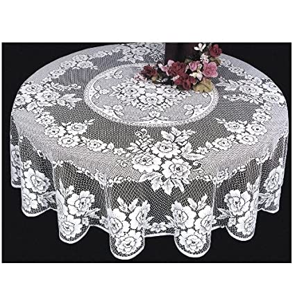 High Quality Heritage Lace Victorian Rose 72 Inch Tablecloth, White