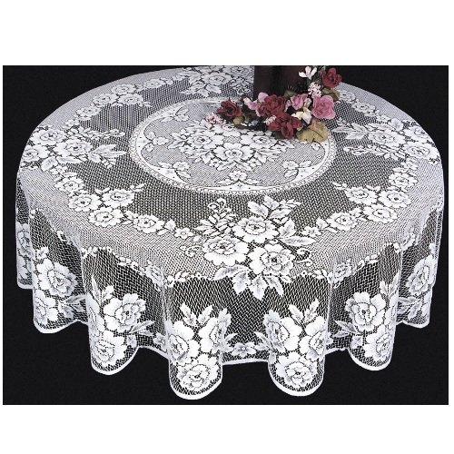 Christmas Tablescape Décor - White Victorian rose lace tablecloth made in USA by Heritage Lace