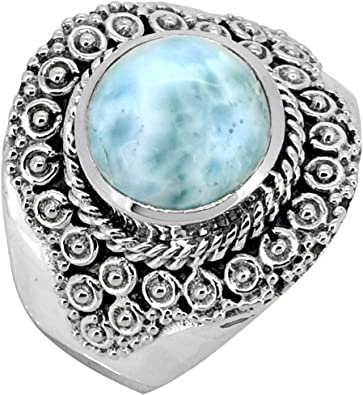 Natural Larimar Vintage Style 925 Sterling Silver Gemstone Designer Ring Jewelry