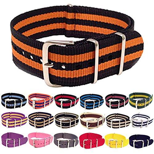 Wrist & Style NylonNATO Watch Strap (22mm, Black/Orange/Black/Orange/Black)